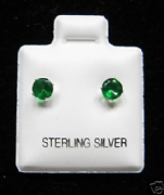 4mm Round Emerald May Birthstone Silver Stud Earrings